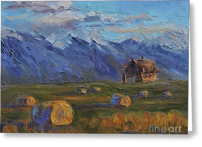 Pallet Knife Greeting Cards - Make Hay While the Sun Shines Greeting Card by Linda Mooney