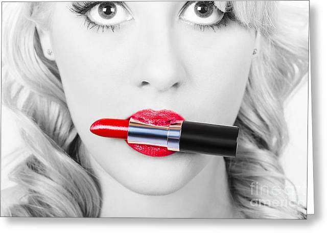 Make-up Closeup. Cosmetic Pinup Girl In Lip Makeup Greeting Card by Jorgo Photography - Wall Art Gallery