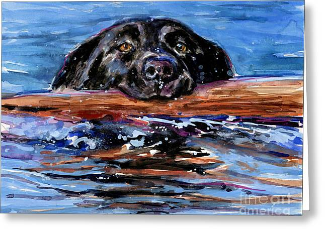 Swimming Dog Greeting Card featuring the painting Make Wake by Molly Poole