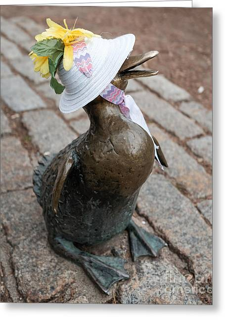 Boston Garden Greeting Cards - Make Way For Ducklings Greeting Card by Edward Fielding