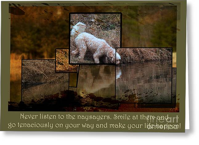 Puppies Digital Art Greeting Cards - Make Your Life Happen Greeting Card by Sandra Clark