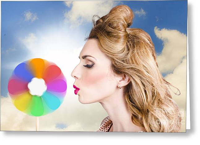 Pink Lipstick Greeting Cards - Makeup beauty girl blowing hair colors palette Greeting Card by Ryan Jorgensen