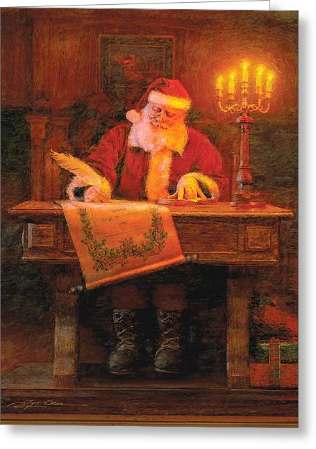 Santa Claus Greeting Cards - Making a List Greeting Card by Greg Olsen