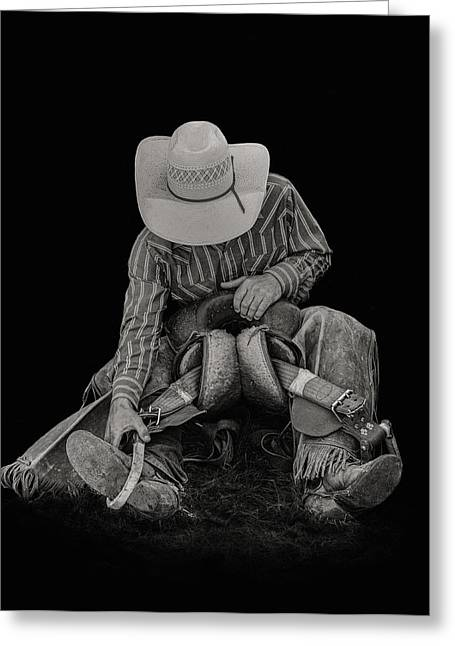 Rider With Hat Greeting Cards - Making Adjustments Greeting Card by Virginia Paul