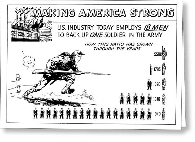 World War 2 Drawings Greeting Cards - Making America Strong Cartoon Greeting Card by War Is Hell Store