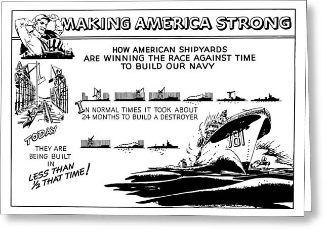 Americana Drawings Greeting Cards - Making America Strong WW2 Cartoon Greeting Card by War Is Hell Store