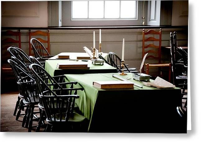 Independance Hall Greeting Cards - Making History Greeting Card by Greg Fortier