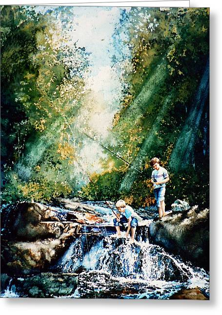 Fishing Creek Greeting Cards - Making Memories Greeting Card by Hanne Lore Koehler