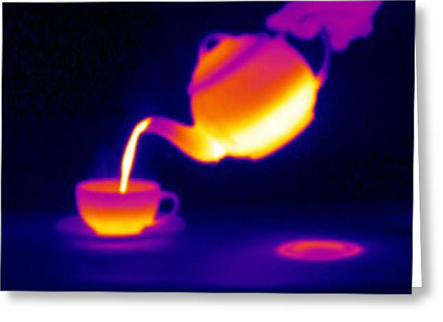 Boiling Greeting Cards - Making Tea, Thermogram Greeting Card by Tony Mcconnell