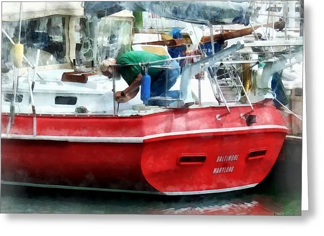 Making The Boat Shipshape Greeting Card by Susan Savad