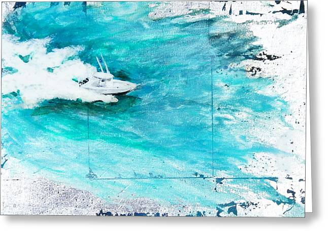 Snorkel Mixed Media Greeting Cards - Making Waves I Greeting Card by Maria Boudreaux