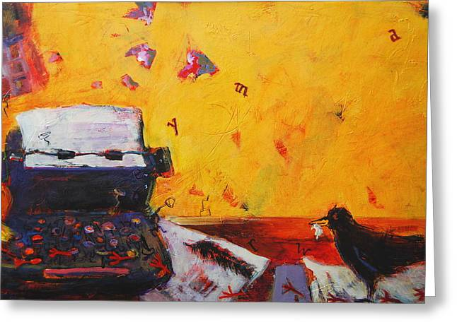 Typewriter Paintings Greeting Cards - Making Your Mark Greeting Card by Anne Schreivogl