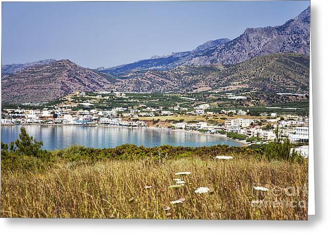 Ocean Panorama Greeting Cards - Makrigialos Crete Greeting Card by Sophie McAulay