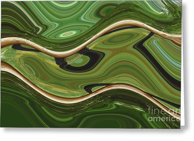 Merging Greeting Cards - Malachite and Copper River Greeting Card by Ann Johndro-Collins