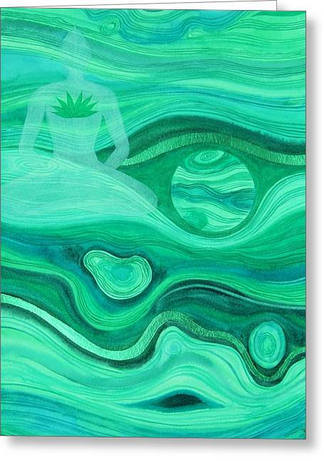 Malachite Heart  Chakra Greeting Card by Jennifer Baird