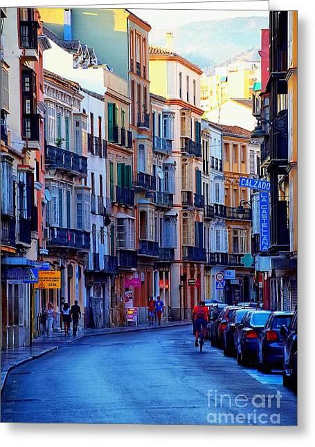 Malaga Greeting Cards - Malaga Evening Greeting Card by Mary Machare