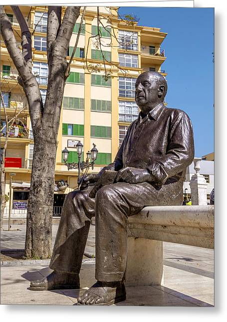 Pablo Picasso Photographs Greeting Cards - MALAGA SPAIN Pablo Picasso statue Greeting Card by Eduardo Huelin