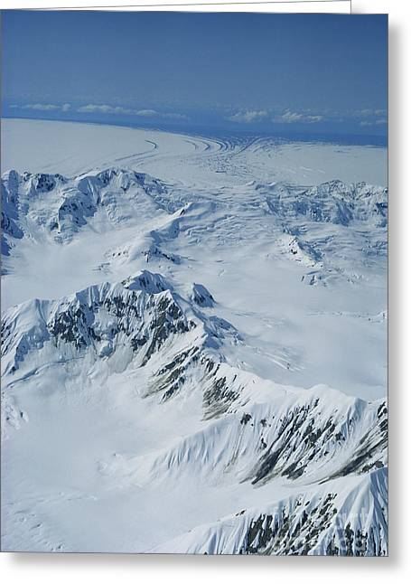 Snow-covered Landscape Greeting Cards - Malaspina Glacier Greeting Card by Joseph Rychetnik