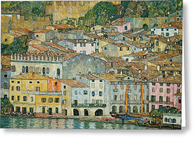 Vernacular Architecture Greeting Cards - Malcesine  Lake Garda Greeting Card by Gustav Klimt