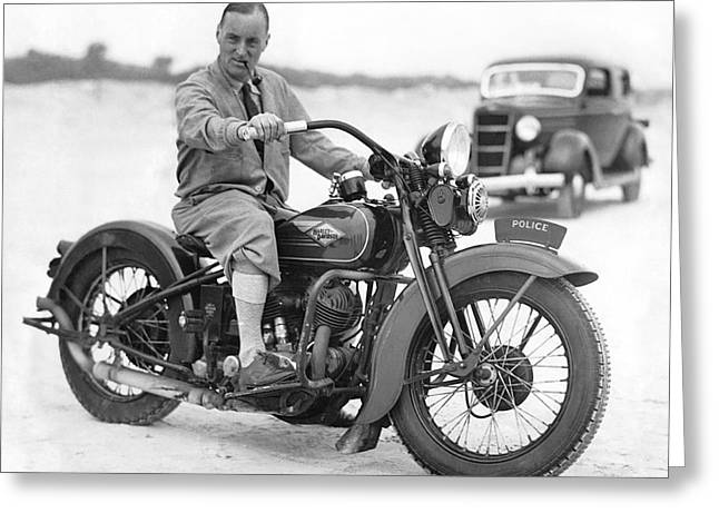 Malcolm Campbell On A Harley Greeting Card by Underwood Archives