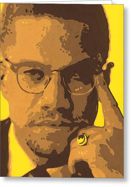 Human Rights Leader Greeting Cards - Malcolm el AfroXicano Greeting Card by Roberto Valdes Sanchez