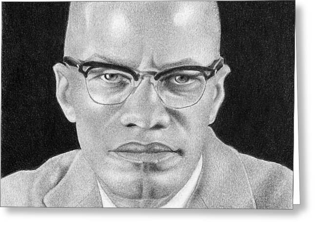 Malcolm X Greeting Card by Curtis Maultsby
