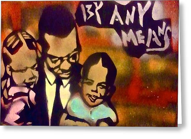 Malcolm X Fatherhood 2 Greeting Card by TONY B CONSCIOUS