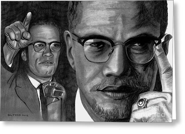 Malcolm X Greeting Cards - Malcolm X Greeting Card by Gil Fong