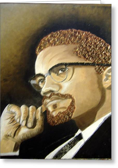 Keenya Woods Mixed Media Greeting Cards - Malcolm X Greeting Card by Keenya  Woods