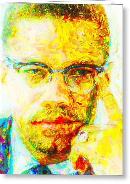 Malcolm X Painted Digitally 2 Greeting Card by David Haskett