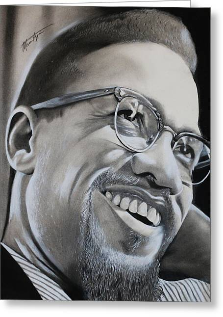 Malcolm X Smiling Greeting Card by Marvin Ryan