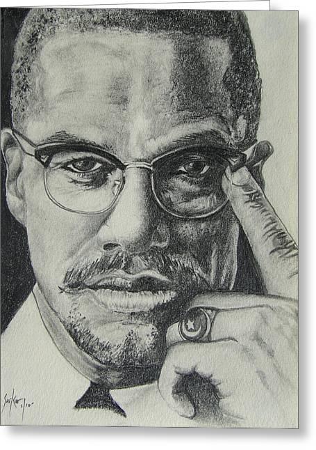 Malcolm X Greeting Cards - Malcolm X Greeting Card by Stephen Sookoo