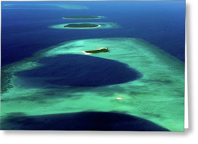 Maldivian Coral Islands In Blue Ocean Greeting Card by Jenny Rainbow