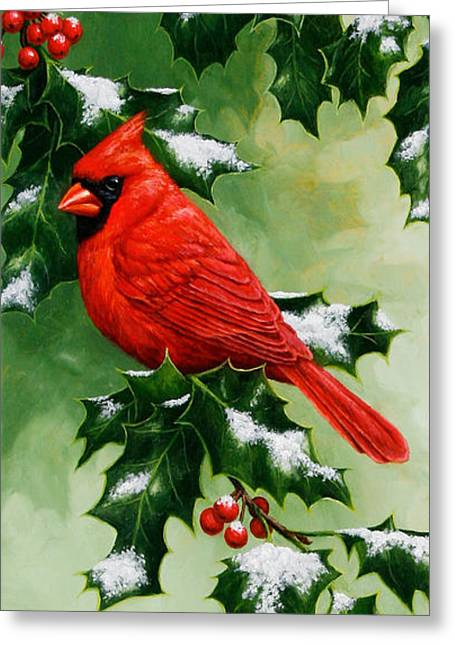 Male Cardinal Greeting Cards - Male Cardinal and Holly Phone Case Greeting Card by Crista Forest