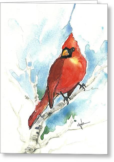 Cardinalis Greeting Cards - Male Cardinal Greeting Card by Christine Camp