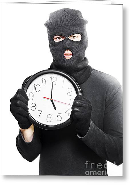 Balaclava Greeting Cards - Male criminal in mask holding a clock Greeting Card by Ryan Jorgensen