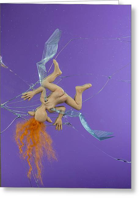 Kid Sculptures Greeting Cards - Male Fairy Splat Greeting Card by Voodoo Delicious