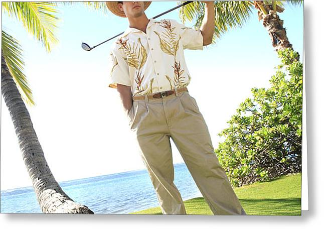 Male Golfer Greeting Card by Brandon Tabiolo - Printscapes