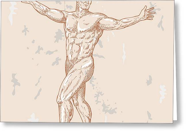 male human anatomy Greeting Card by Aloysius Patrimonio