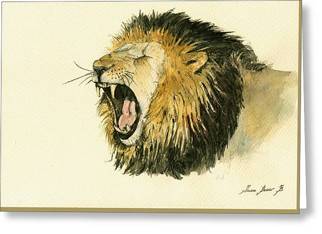 African Lion Art Greeting Cards - Male lion head painting Greeting Card by Juan  Bosco