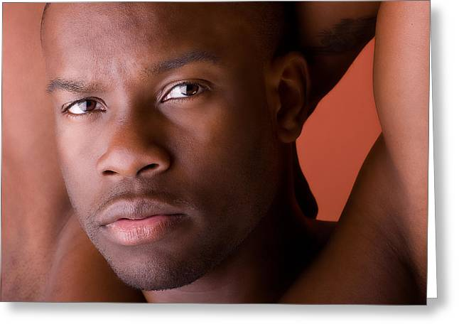 Black Man Greeting Cards - Male Model Portrait in color Greeting Card by Val Black Russian Tourchin