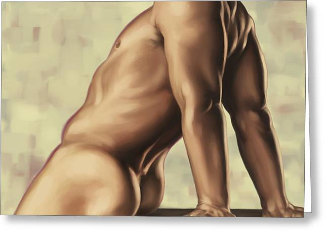 Male Torso Greeting Cards - Male nude 2 Greeting Card by Simon Sturge
