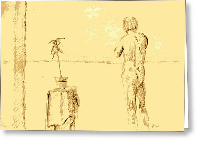 Table Cloth Drawings Greeting Cards - Male Nude by House Plant Greeting Card by Sheri Parris