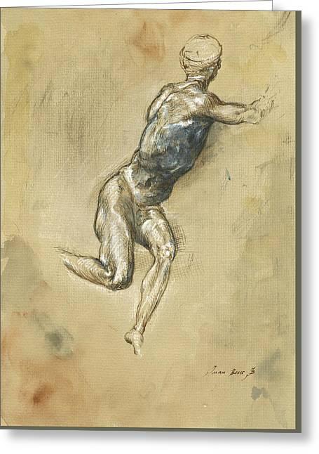 Male Nude Figure Greeting Card by Juan Bosco