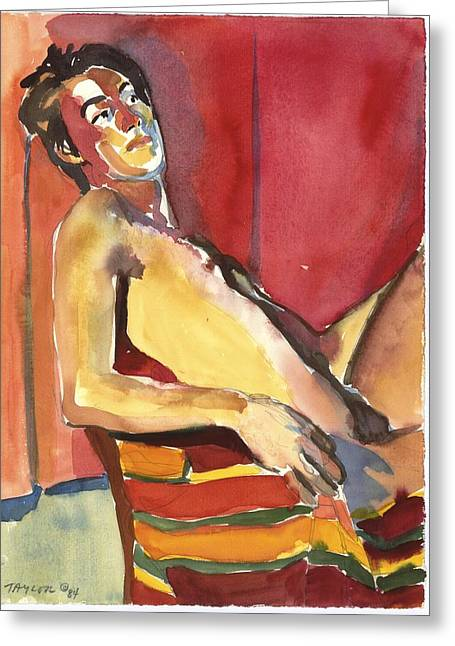 Male Nude Red Background Greeting Card by Pat Taylor