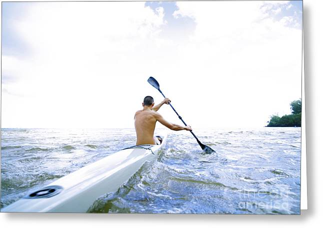 Overexposed Greeting Cards - Male Paddler Greeting Card by Kicka Witte - Printscapes