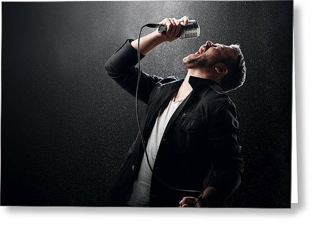 Energetic Greeting Cards - Male Singer performing Greeting Card by Johan Swanepoel
