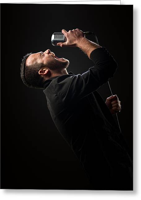 Energetic Greeting Cards - Male Singer singing in mic Greeting Card by Johan Swanepoel