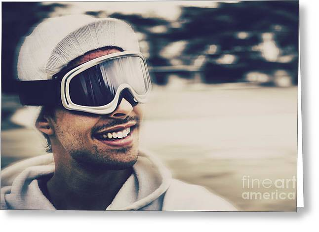 Snow Boarder Greeting Cards - Male snowboarder wearing ski goggles and smile Greeting Card by Ryan Jorgensen