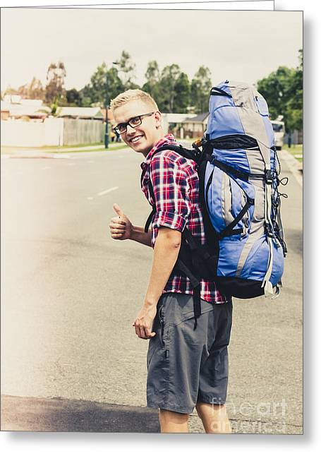 Knapsack Greeting Cards - Male traveller giving thumbs up Greeting Card by Ryan Jorgensen